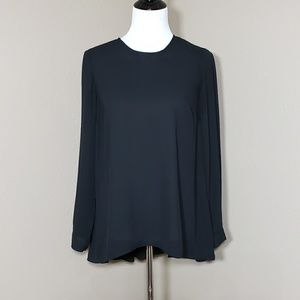 Vince Camuto Pleat Back High Low Black Blouse S